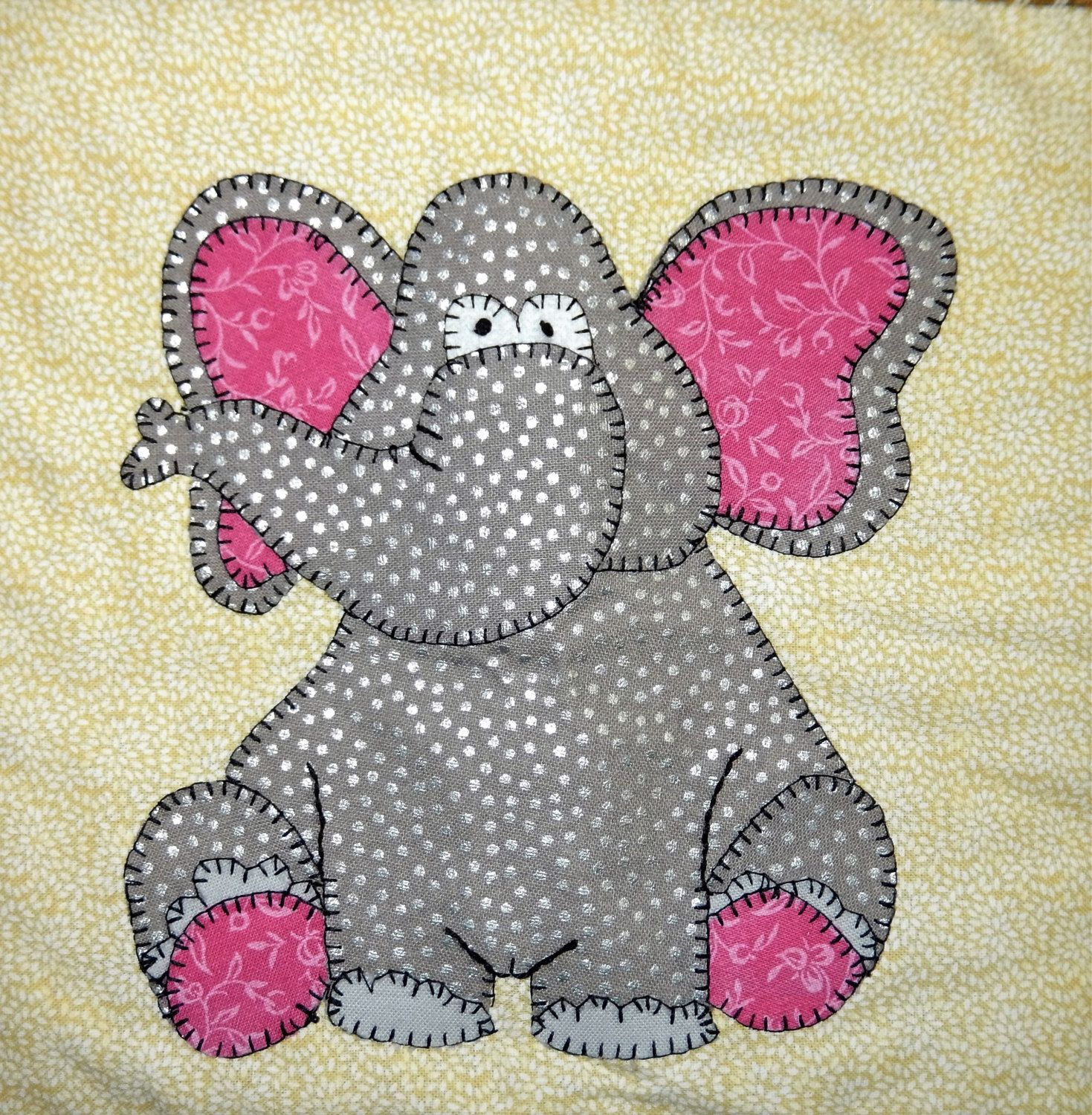 Applique African Elephant Pdf Applique Baby Quilt Pattern Zoo Or
