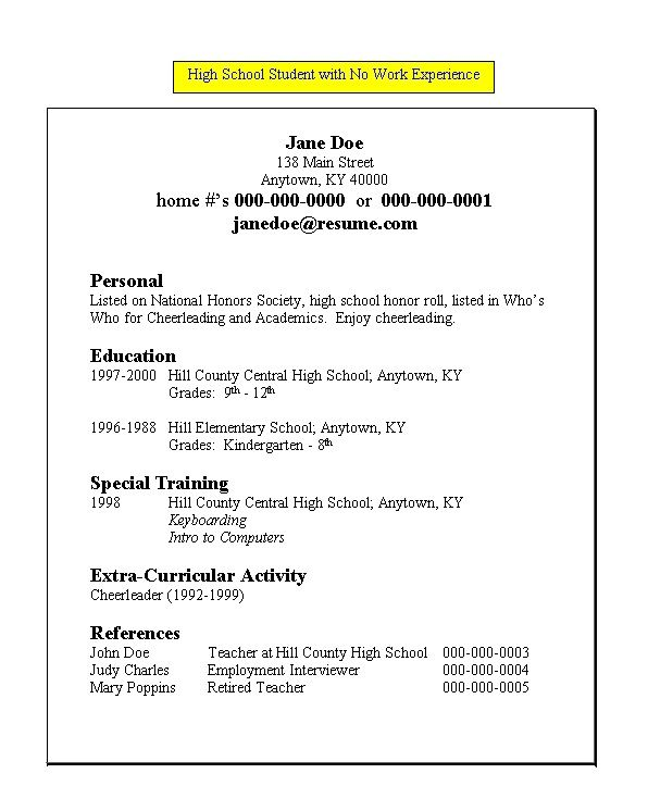Resume For High School Student with No Work Experience - http - high school student resume examples no work experience