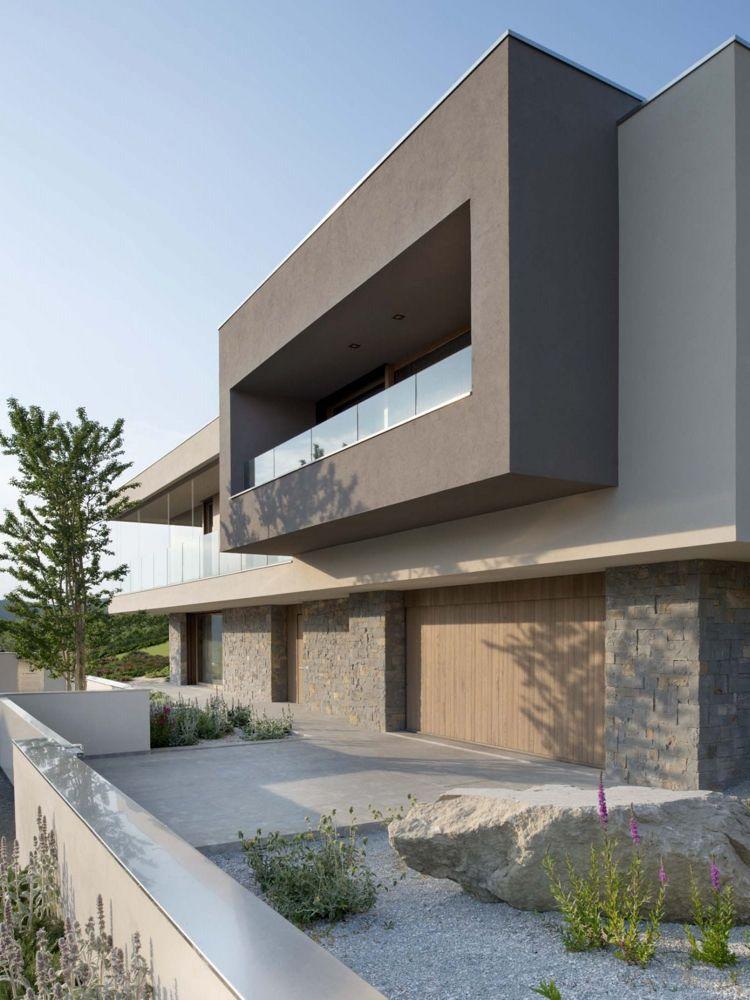 Modernes haus mit Steingarten Fassadenfarbe Pinterest Haus - fassadenfarbe haus