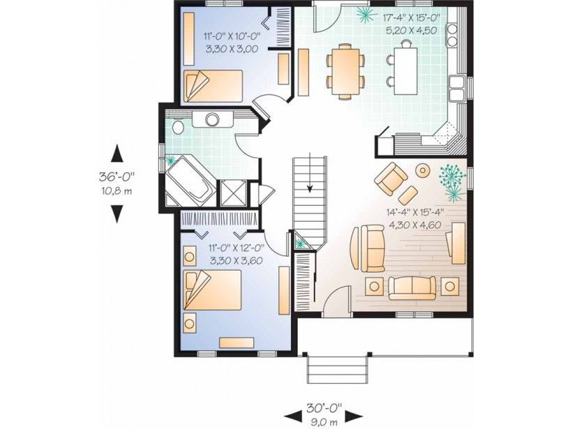 simple single story 2 bedroom house plans - Google Search house - one bedroom house plans