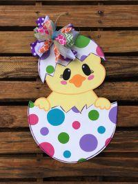 Chick Door Hanger, Easter Door Hanger, Door Hanger, Egg ...