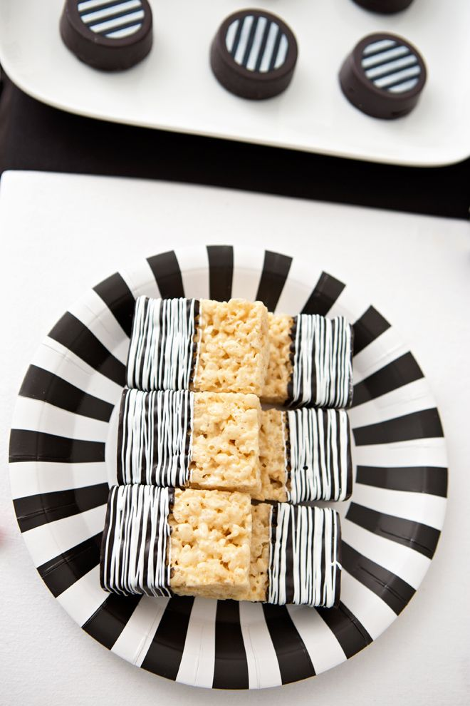 Tim Burton Inspired Halloween Party! Rice Crispy treats dipped in - nightmare before christmas baby shower decorations