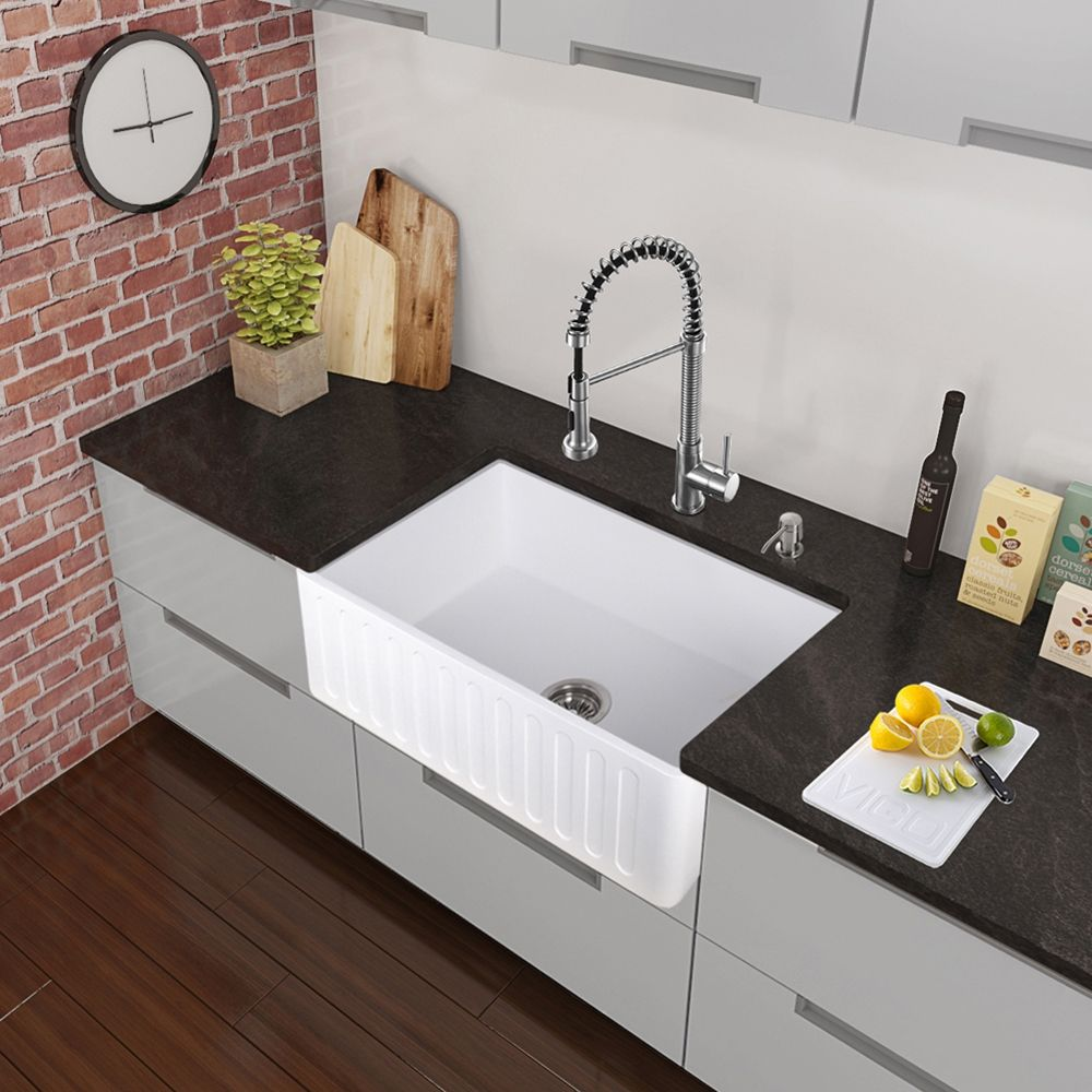 Stone Farmhouse Sink Lowest Price Shop Vigo Vg15460 All In One 36 In Matte Stone Farmhouse Kitchen
