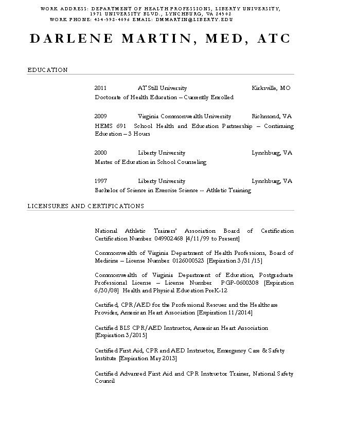 Certified Athletic Trainer Resume - http\/\/resumesdesign - athletic resume template