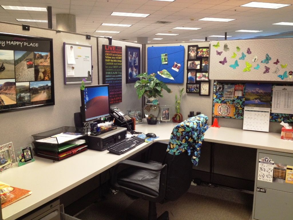 Office Space Decoration Ideas Office Cubicle Ideas For Office With L Shape Desk And
