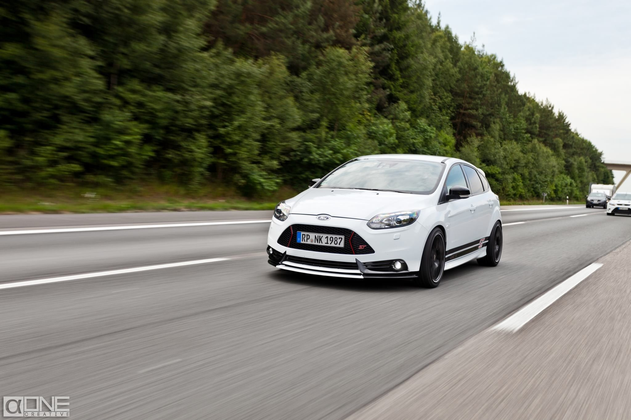 Ford Focus St White White Ford Focus St Tuning On Motorway Highway Autobahn In