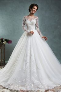 Fairy Ball Gown Illusion Neckline Long Sleeve Tulle Lace ...