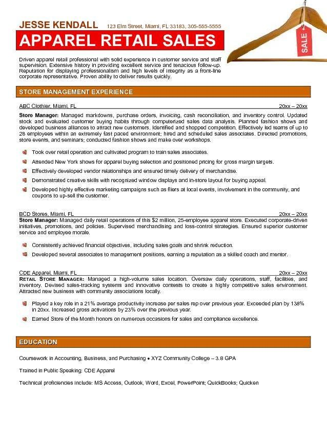 Resume For Clothing Store. retail sales associate resume samples retail  sales cover letter
