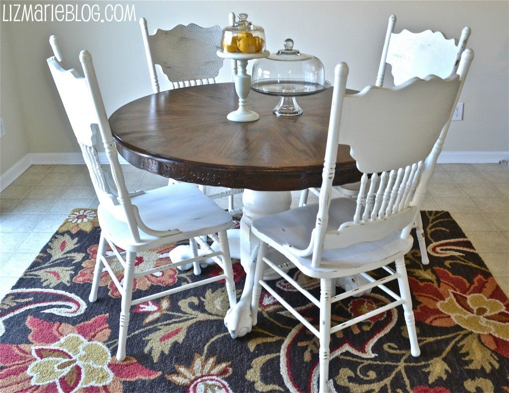 white distressed kitchen table paint old wood chairs white bottom of table white and stain top of table