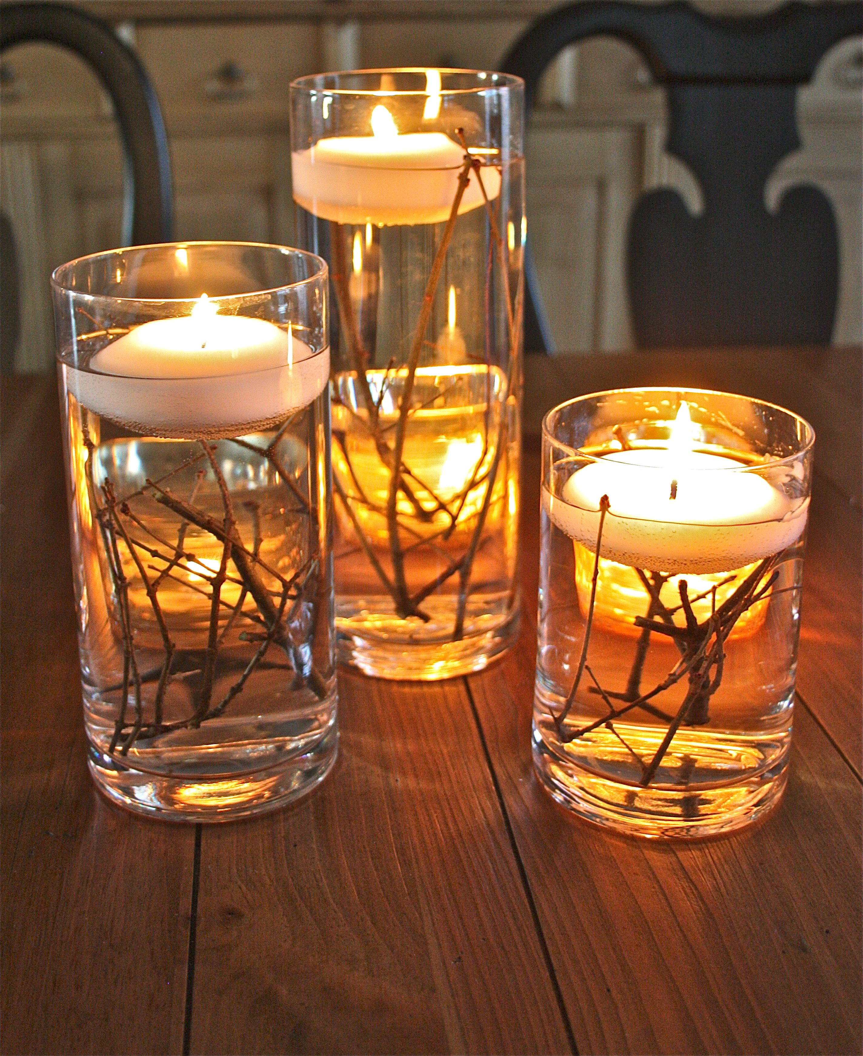 Candles With Gifts Inside Bringing The Outdoors In Floating Candles Wedding And Craft