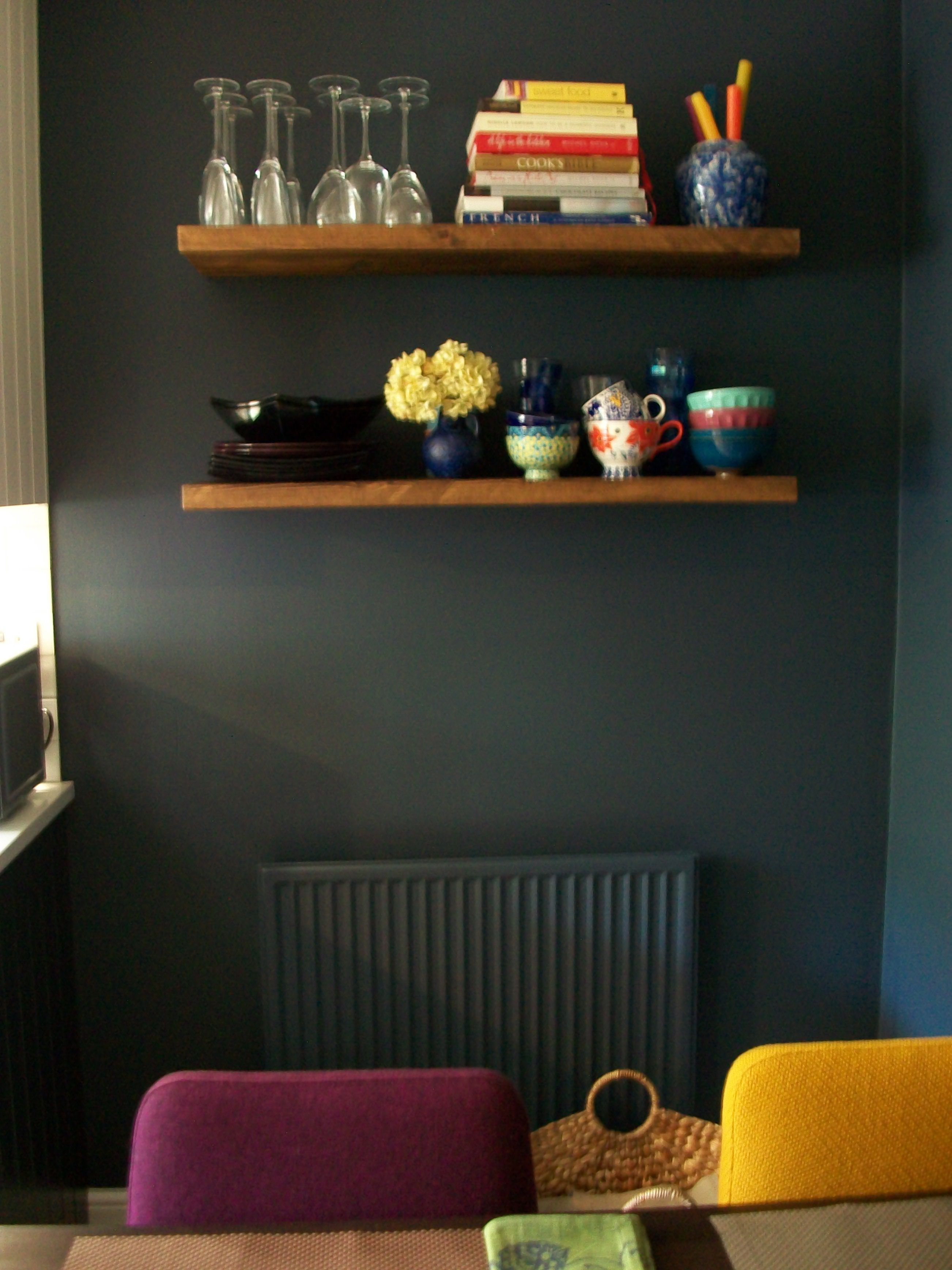 Funky Wall Shelves Dark Grey Inky Blue By Valspar Paint In Kitchen Moody