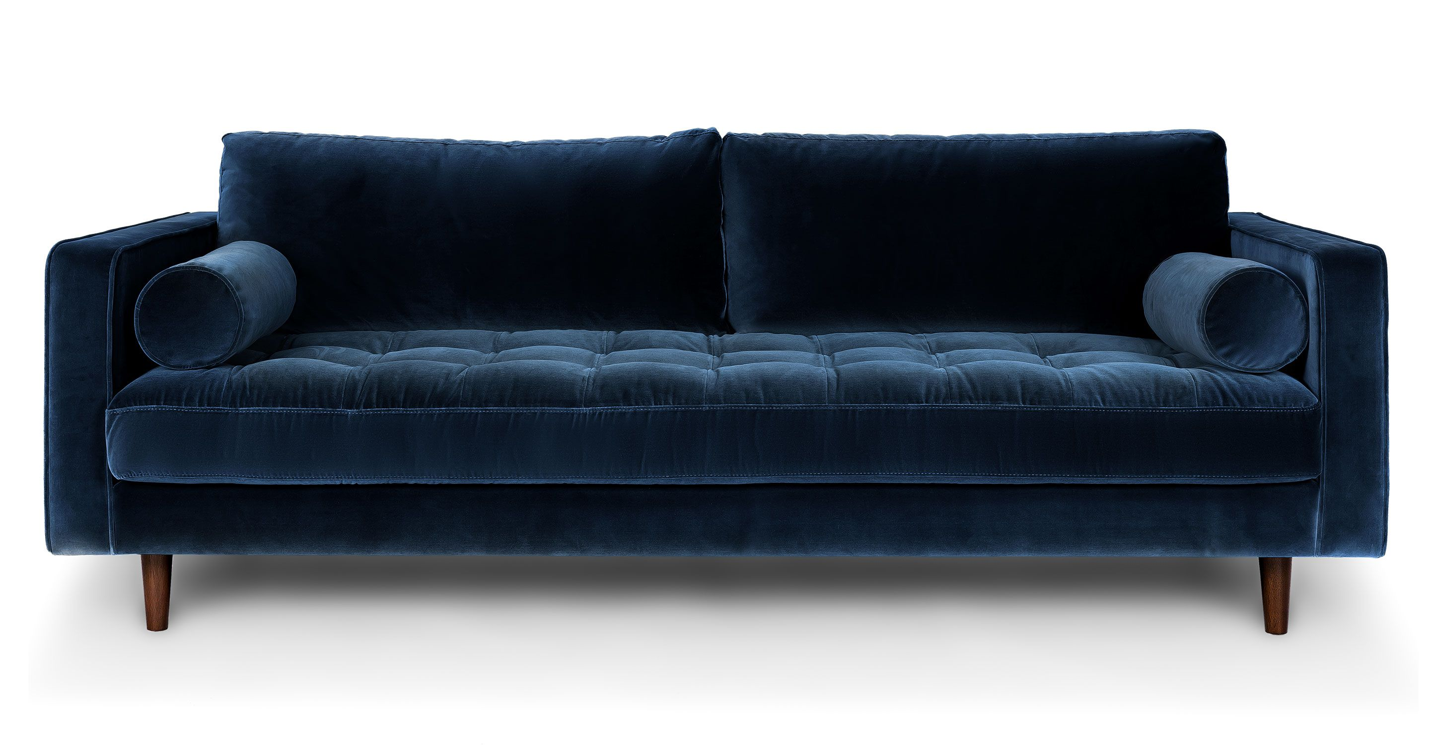 Sofas Couches Blue Velvet Tufted Sofa Upholstered Article Sven