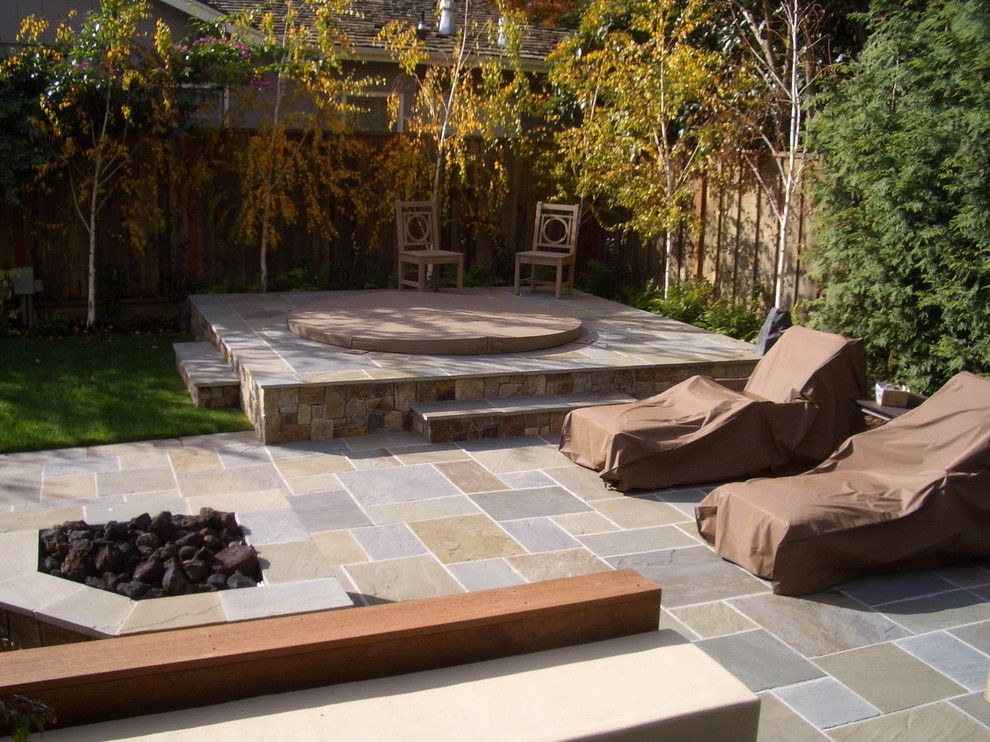 Aesthetic Landscape Traditional Design With Grass Hot Tub