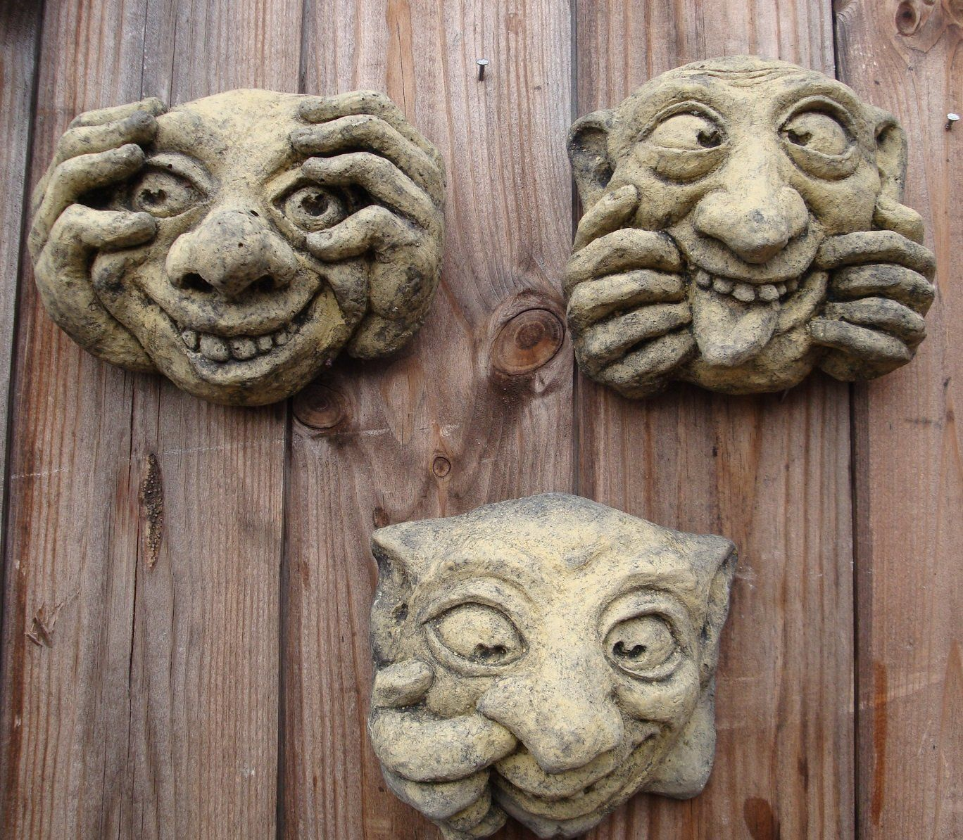 Set of 3 ugly faces gargoyles wall plaques funny face plaques amazon