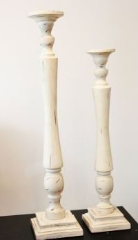 """30"""" Very Tall DISTRESSED IVORY CANDLESTICK Pillar Candle ..."""