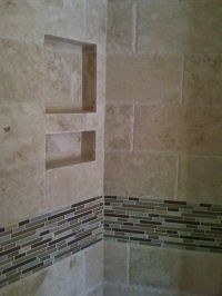6x12 chiseled edge travertine field tile with stone, glass ...