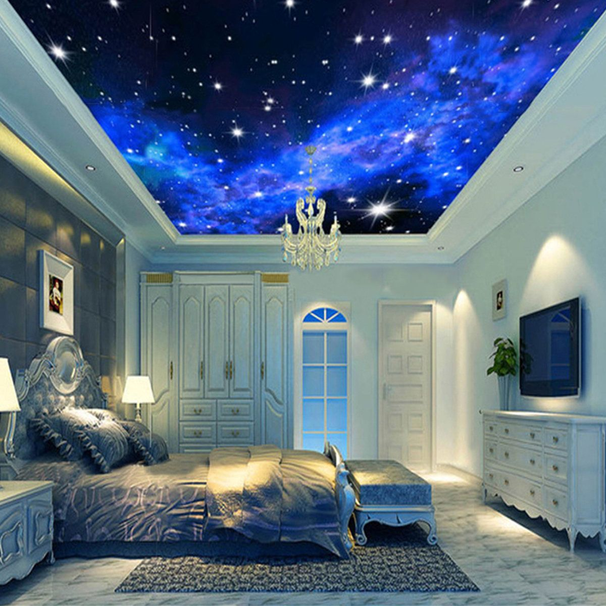 3d Home Decor 3d Wallpaper Mural Night Clouds Star Sky Wall Paper