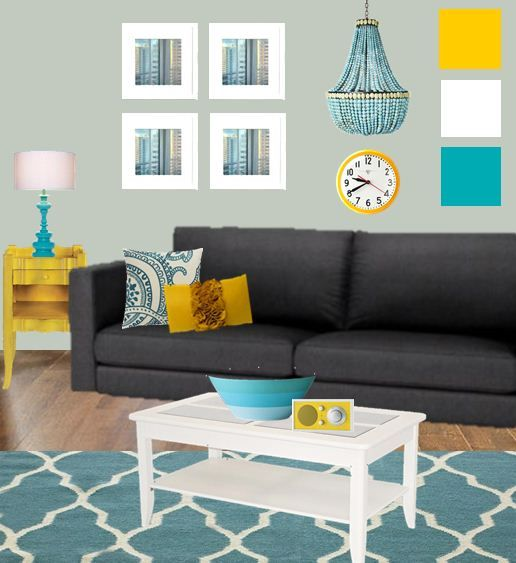 living room moodboard with teal and yellow We could think about - yellow and grey living room