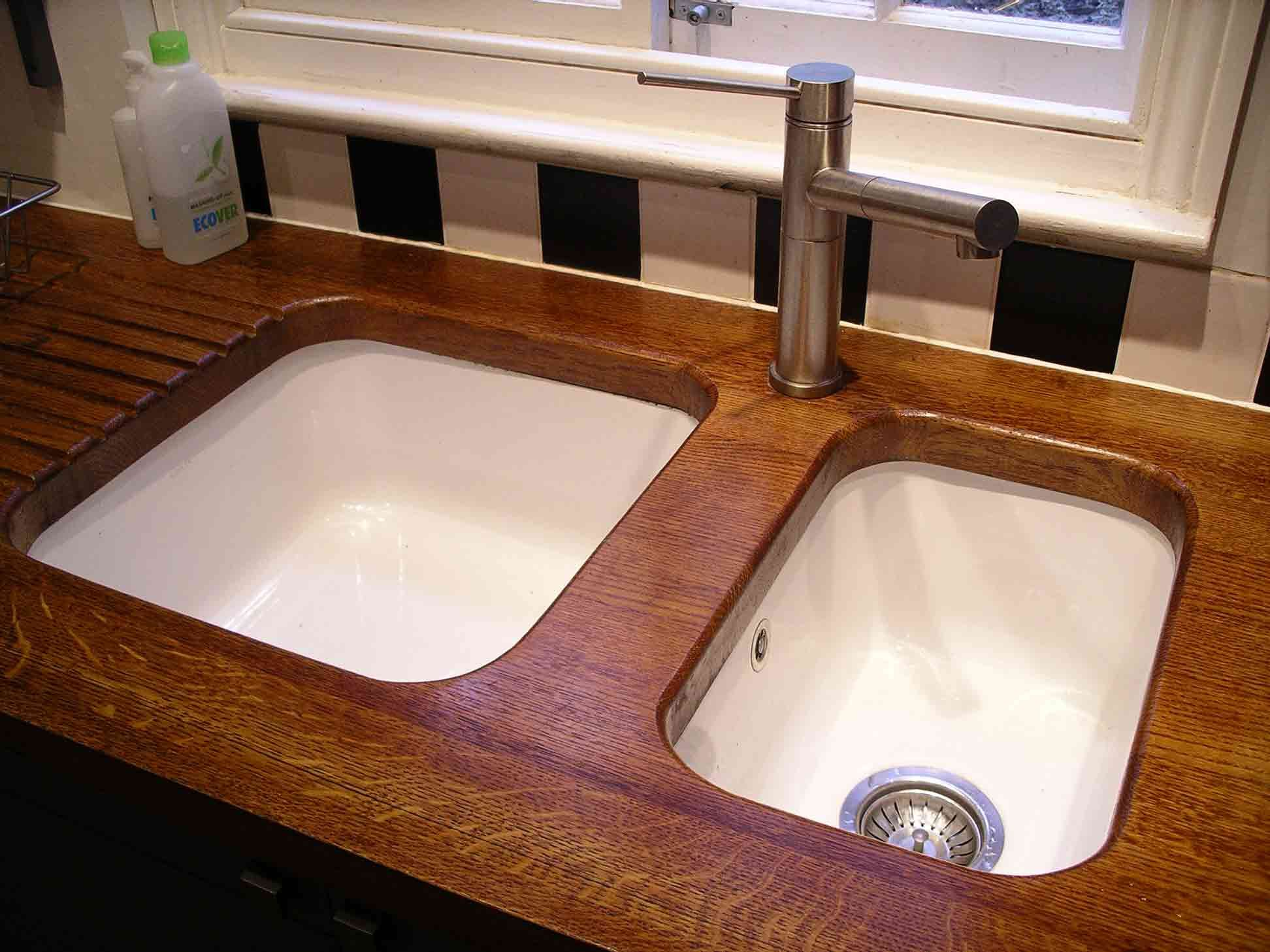 Wooden Sinks Brown Wooden Countertop For Kitchen Island And Double