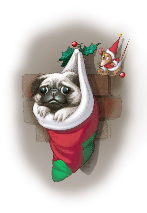 Cute Boston Terrier Wallpaper Christmas Pug By Guygilchrist Pugs Pugs Pugs