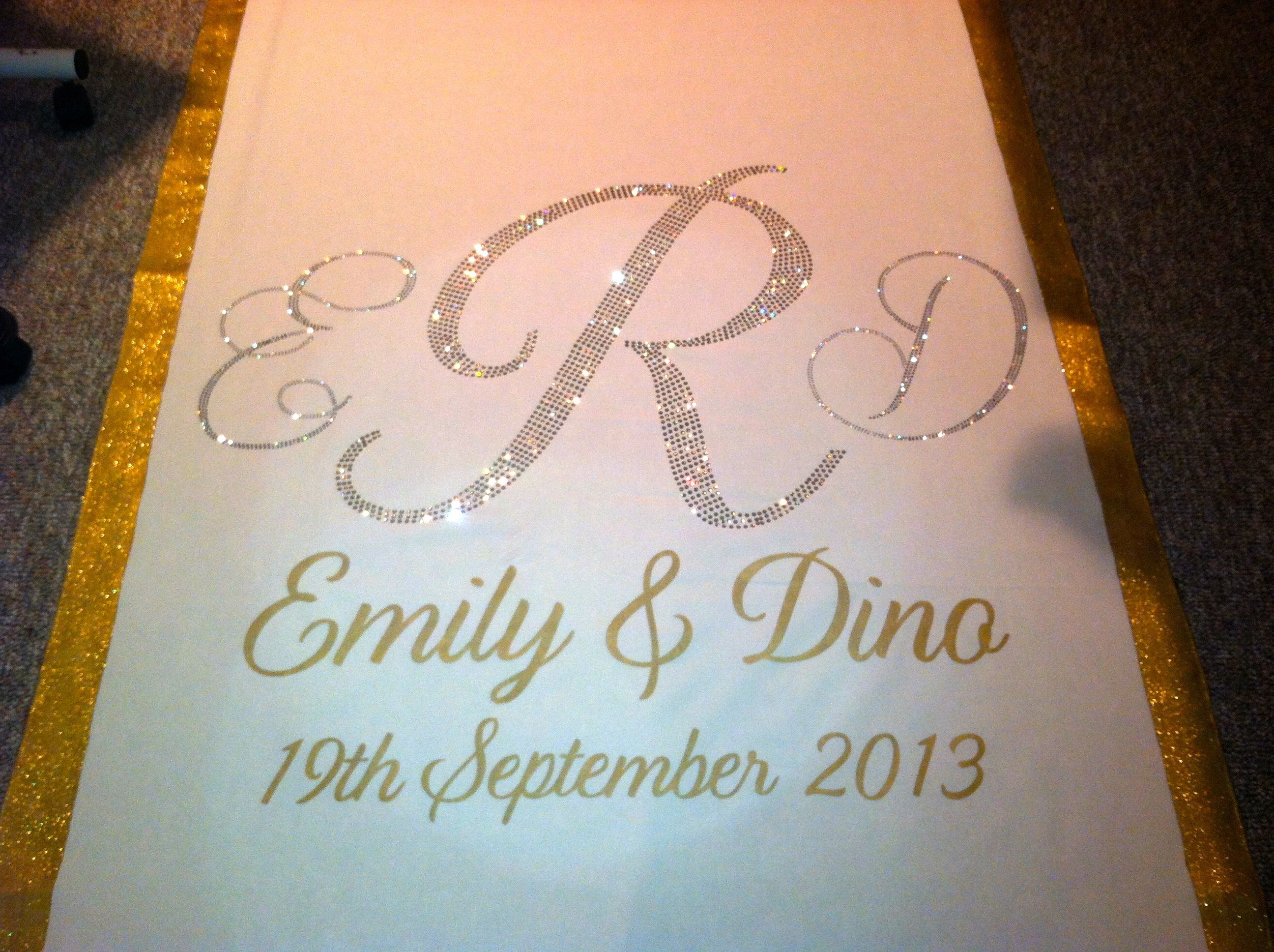 wedding aisle runner Gold silver and crystal wedding aisle runner by www customizedweddingcreations