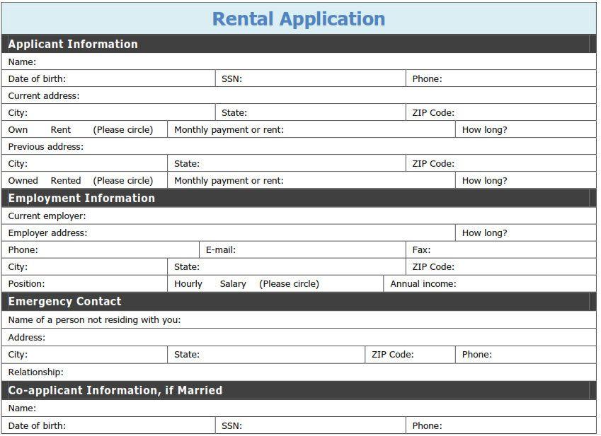 Free Printable Rental Application Template Tags printable pdf - rental application pdf