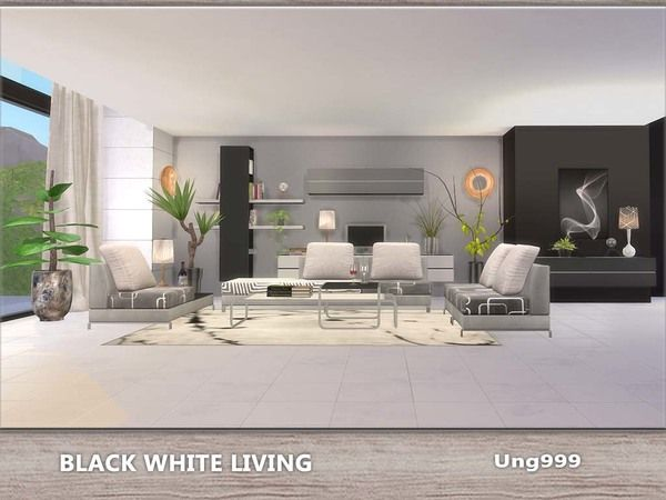 Black White Living by ung999 at TSR via Sims 4 Updates The Sims - white living room sets