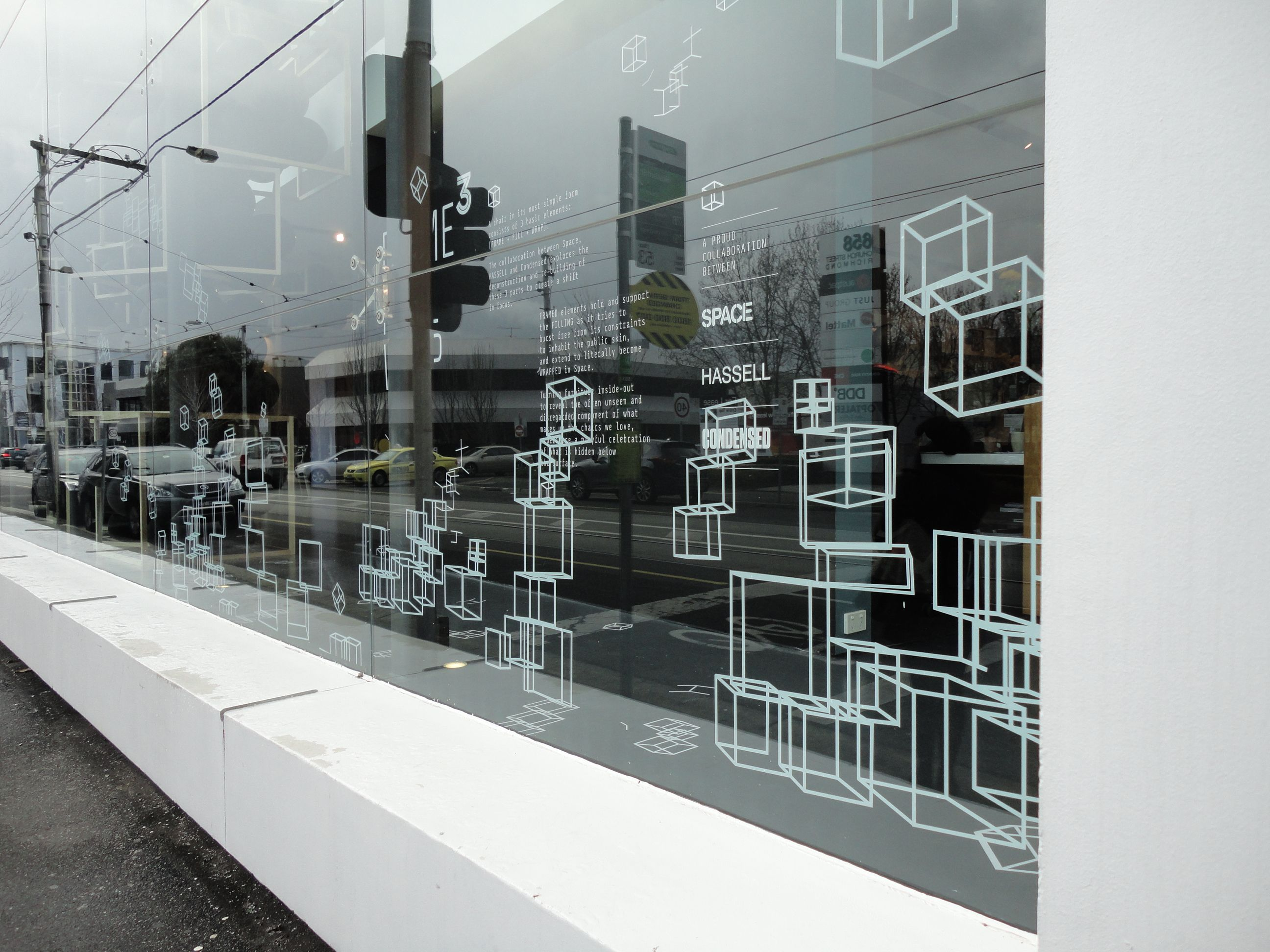 Window decals shop front frames space furniture design by condensed
