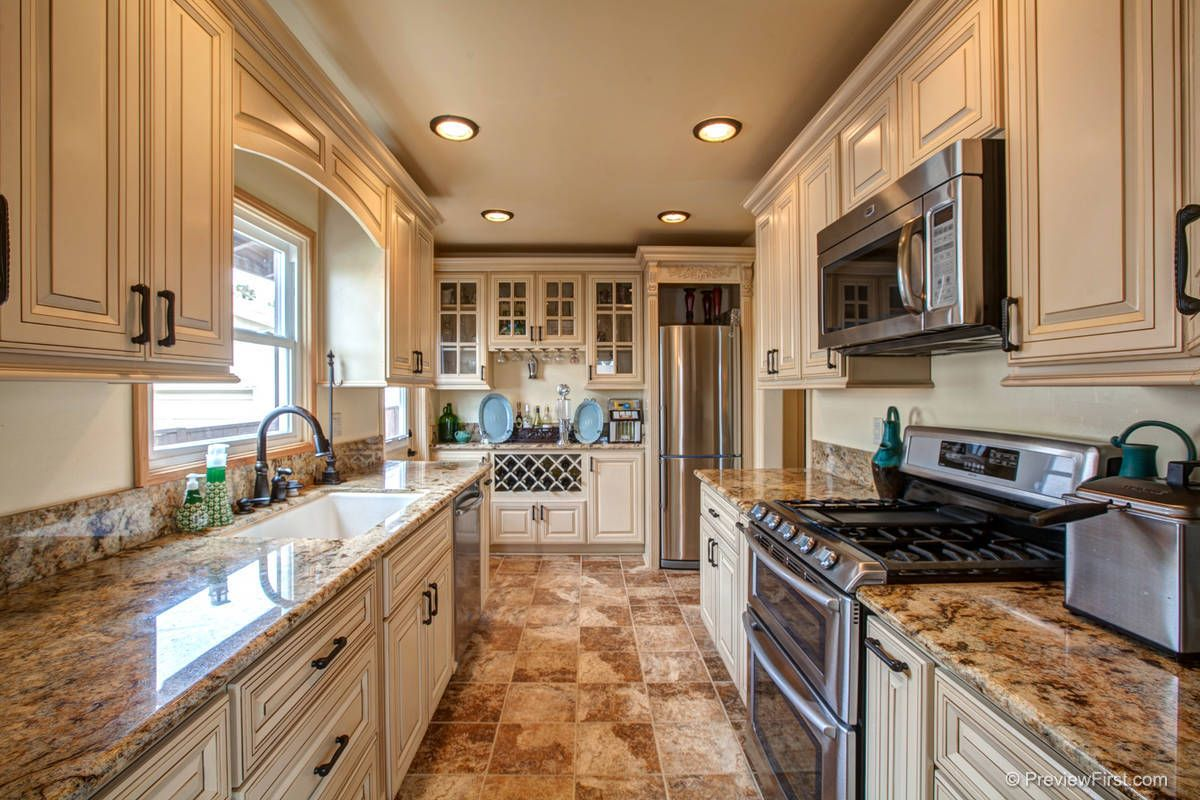 Kitchen Antique White Cabinets Fully Custom Remodeled Kitchen Granite Counter Tops