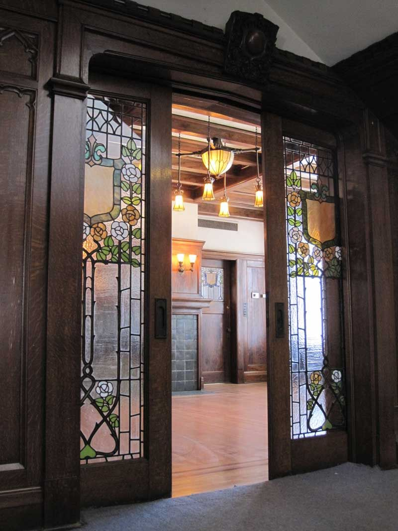 Pocket doors at the glossbrenner mansion in indianapolis which was designed by english architect alfred