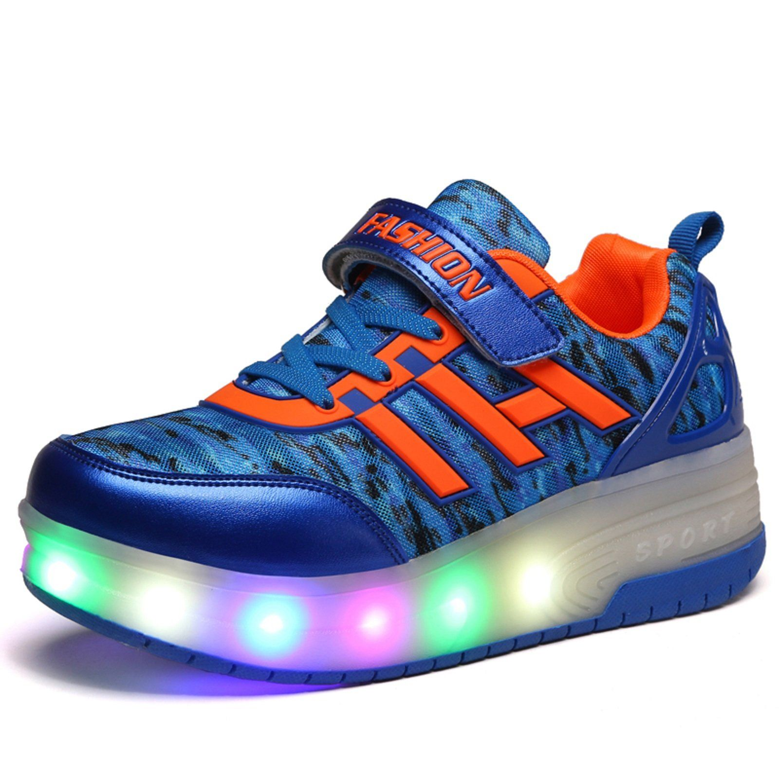 Lafreddy double wheels blink skate shoe 34 blue extremely cool led roller