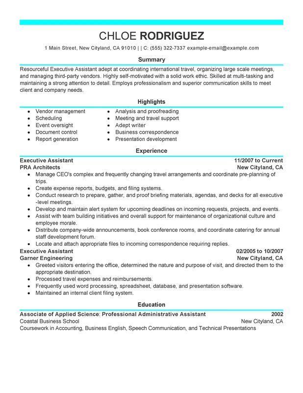 Executive Assistant Resume Sample Resumes Pinterest Sample - impressive resume samples