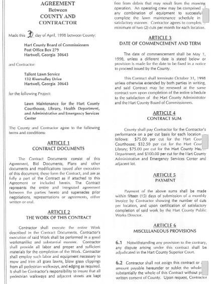 Printable Sample Lawn Service Contract Form Laywers Template - service contract form