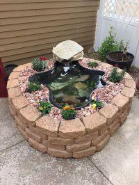 Above ground pond using garden wall blocks! #patio #pond # ...