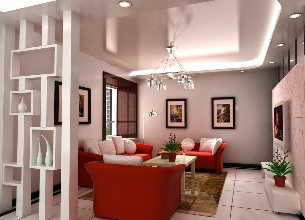 decorative plasterboard partition walls with shelves in modern - wall design ideas for living room
