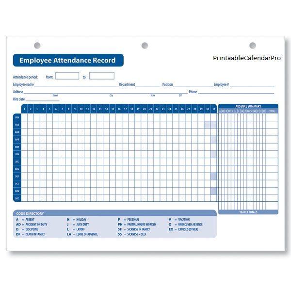 Employee Attendance Calendar 2017,Employee Attendance Tracker - attendance calendar template