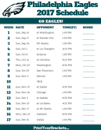 2017 Philadelphia Eagles Football Schedule | Printable NFL ...