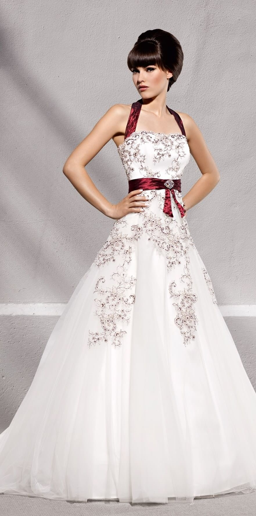 wedding dresses with red wedding dress with red accents from Elizabeth Passion
