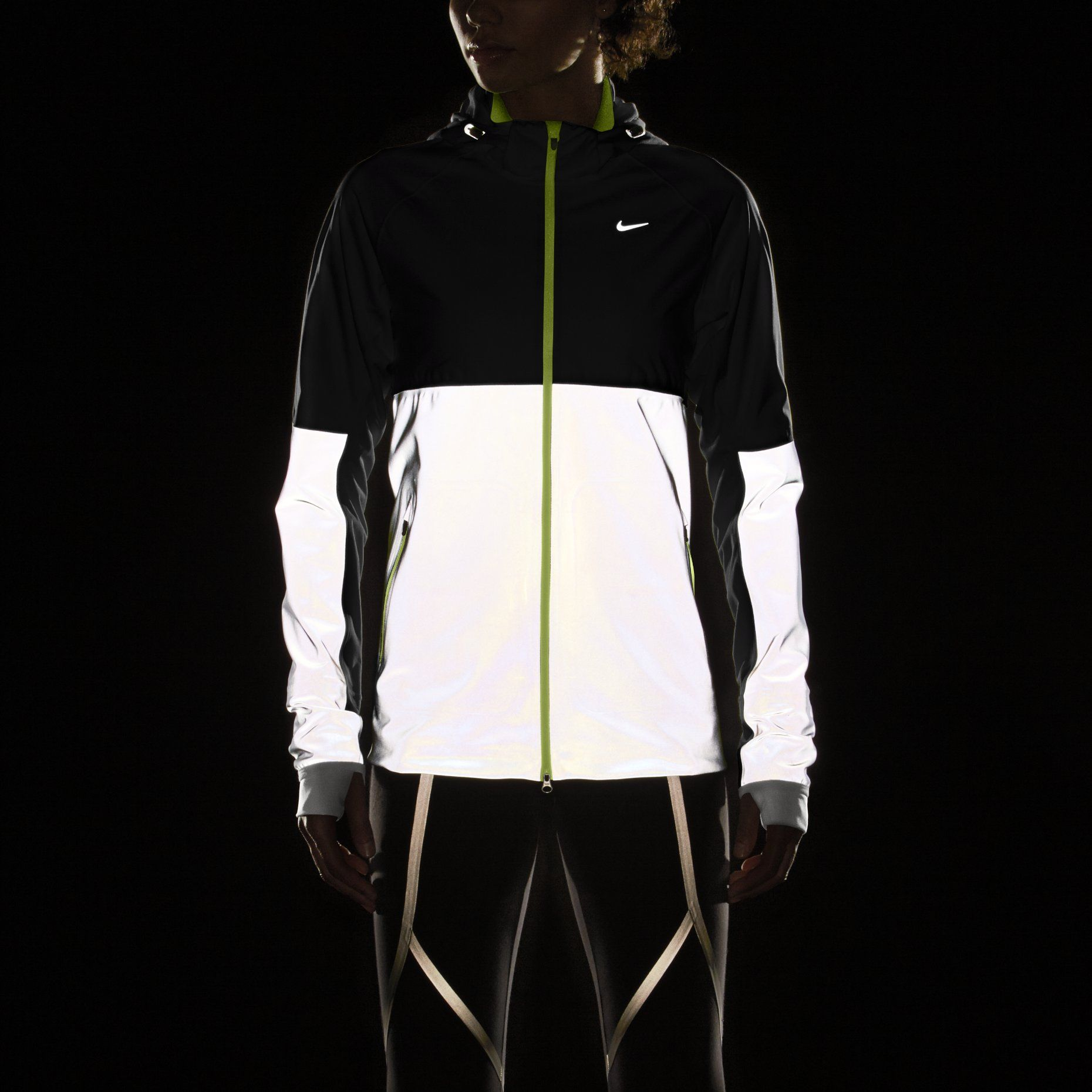 Nike shield flash women s running jacket love the reflection for running in the dark
