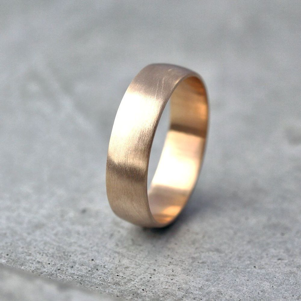 brushed gold wedding band Wide Men s Gold Wedding Band Recycled 10k Yellow Gold 6mm Brushed Low Dome Man s Gold Wedding Ring Made in Your Size