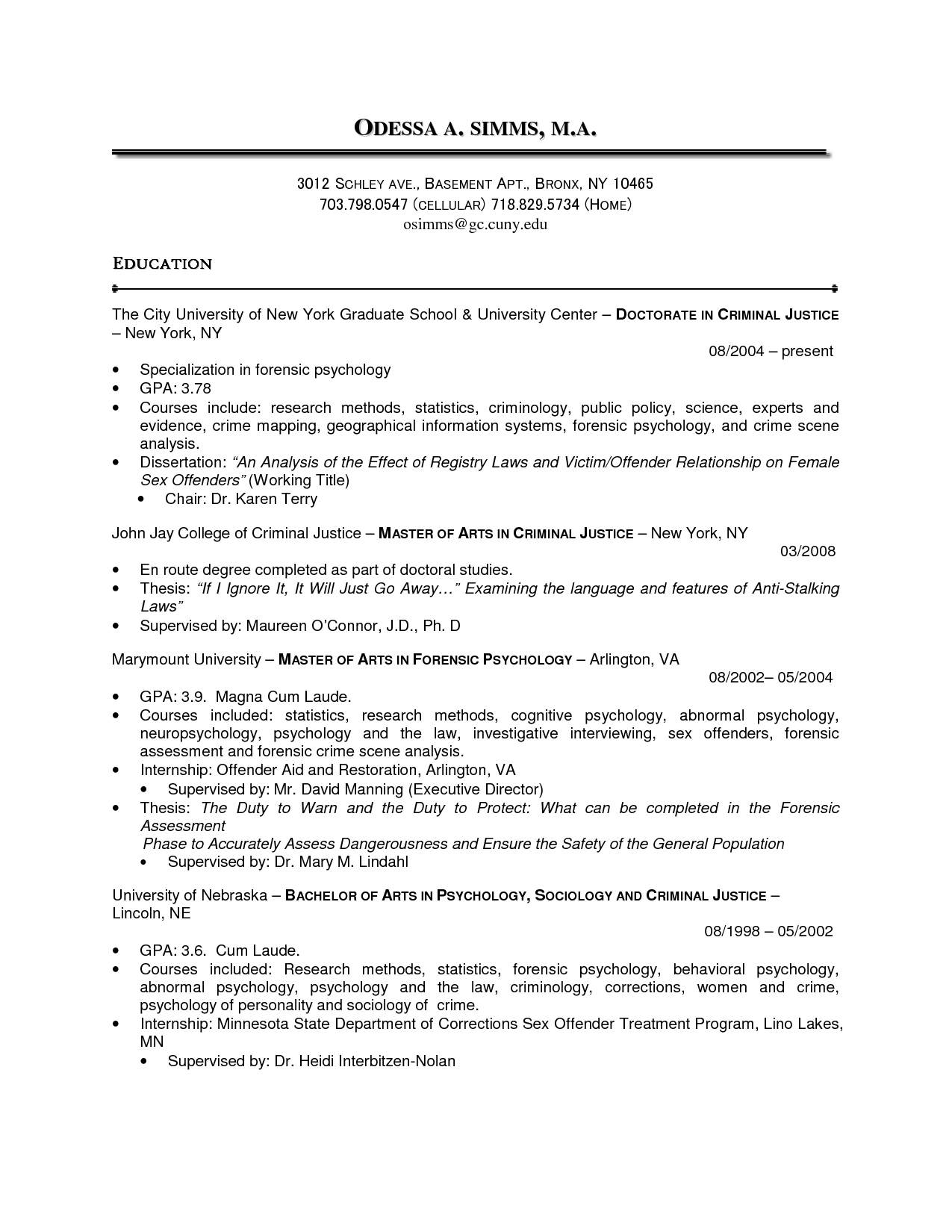 resume templates for exercise science