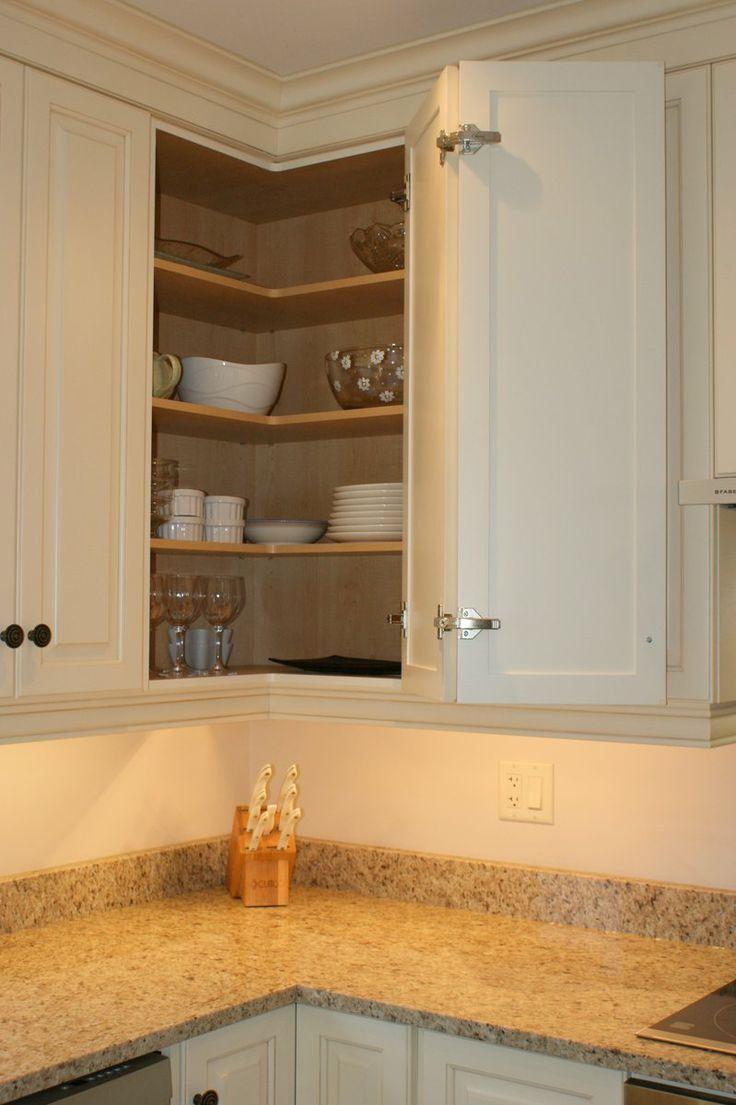 Upper corner kitchen cabinet storage