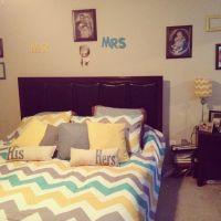 Yellow, gray, teal chevron bedroom. Flores house. | New ...