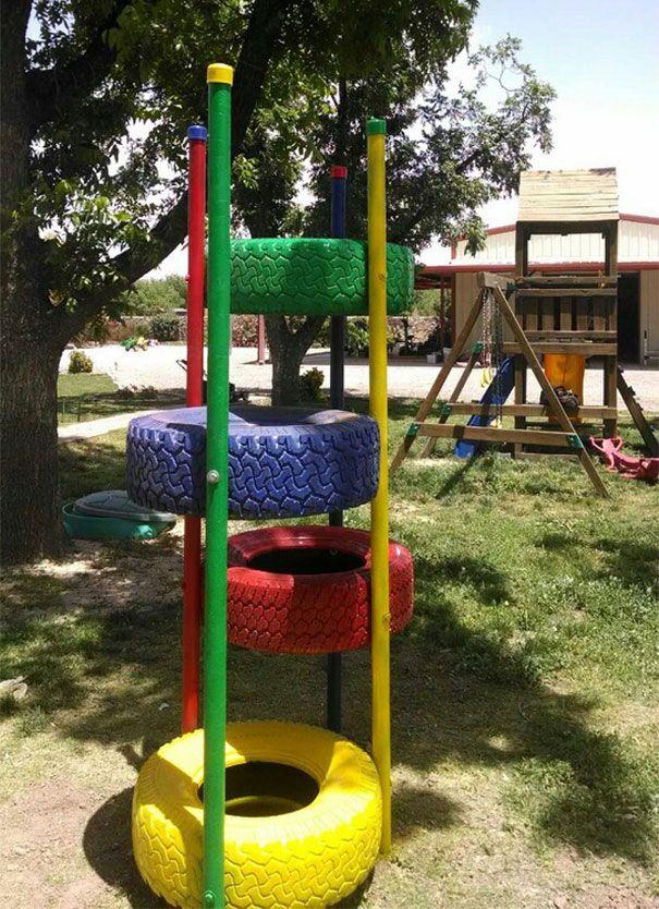 Tire Climbing Tower Playground, Backyard and Yards - home playground ideas