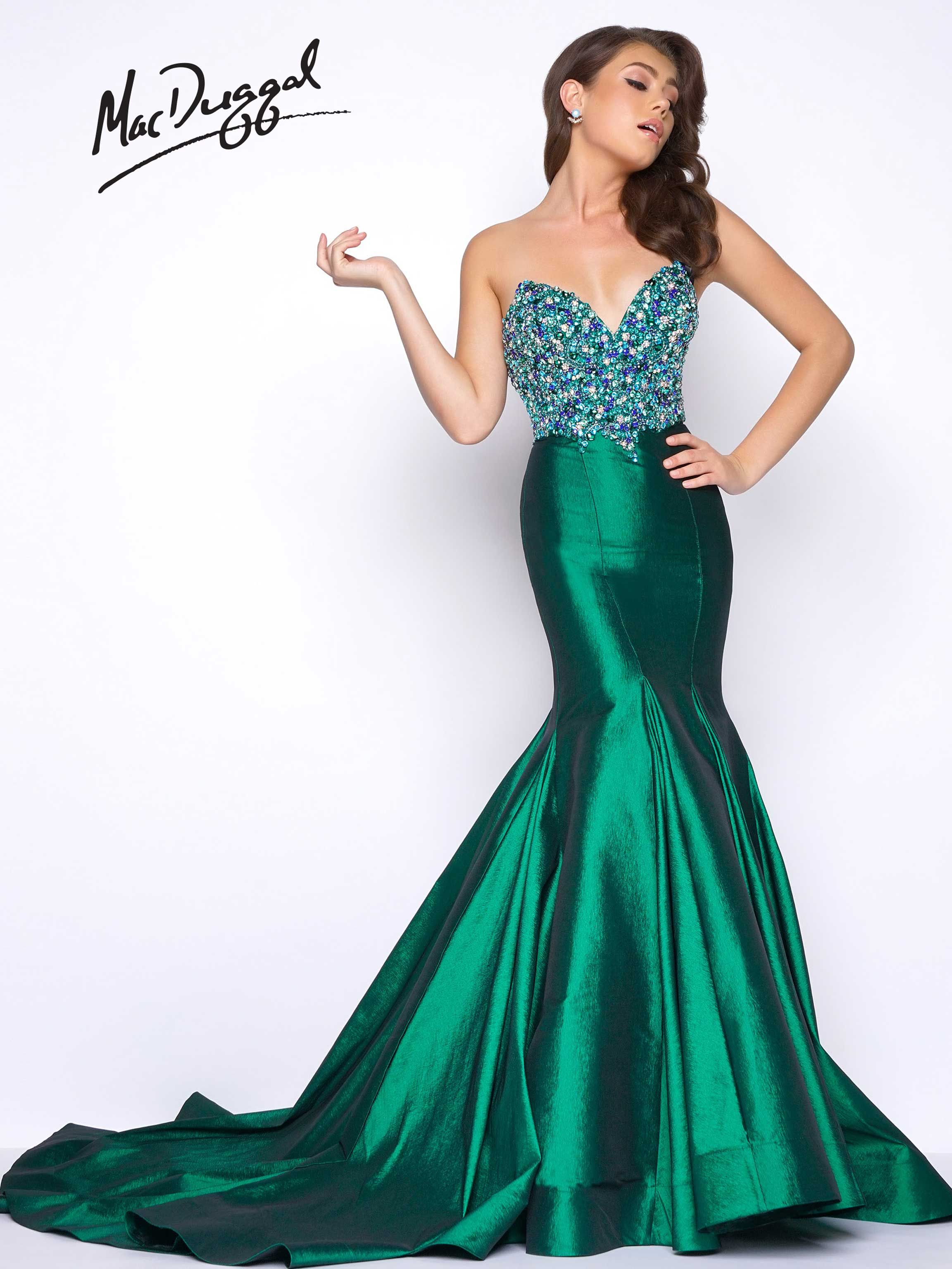 Strapless sweetheart neckline satin beaded bodice prom dress with exaggerated sweep train