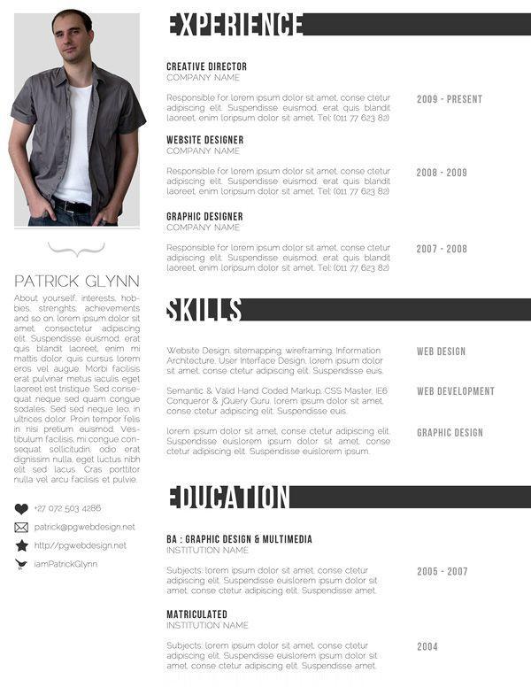 Creative Modern Resume Templates - http\/\/wwwresumecareerinfo - resume templates with photo