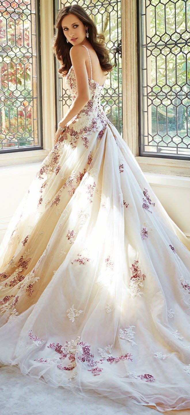 wedding dresses in color Love the color Sophia Tolli Fall Bridal Collection wedding dress with thin straps