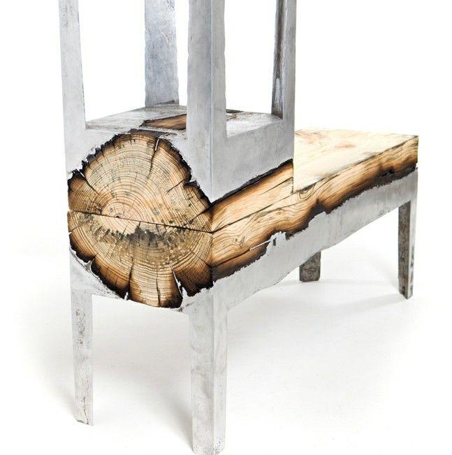 Israel Tisch Stuhl Baumstamm Metall Gestell lovesitting - designer stuehle metall baumstamm