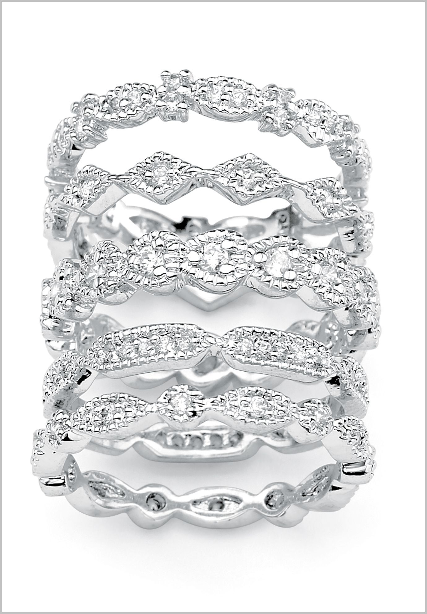 overstock wedding rings PalmBeach CZ Silvertone Cubic Zirconia Stackable Eternity Rings Set of Classic CZ Overstock Shopping Big Discounts on Palm Beach Jewelry Cubic