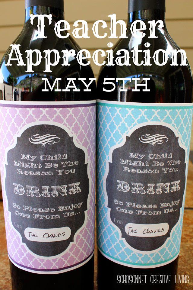 Teacher Appreciation Gift - Wine Label Free Printable Teacher - free wine bottle label templates